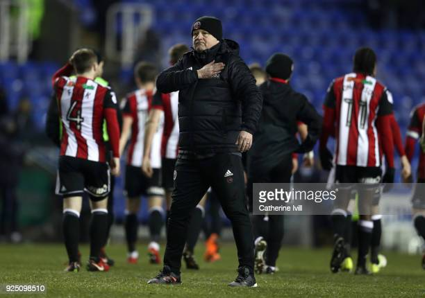 Sheffield manager Chris Wilder celebrates after winning the Sky Bet Championship match between Reading and Sheffield United at Madejski Stadium on...