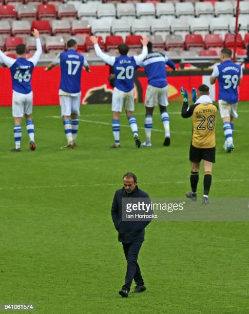 Sheffield manager Jos Luhukay walks from the pitch as his team celebrate the win during the Sky Bet Championship match between Sunderland AFC and...