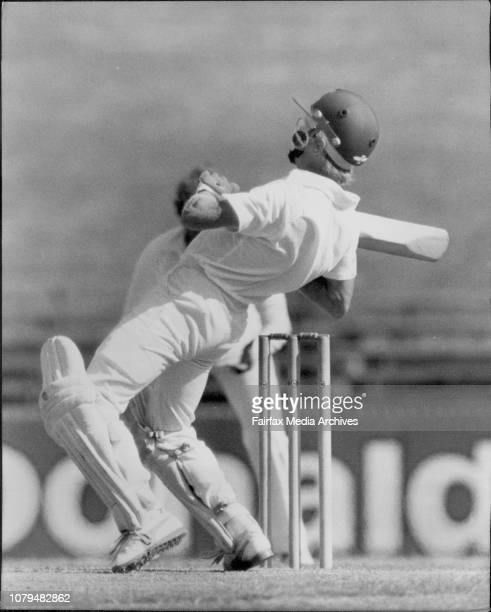 Sheffield Shield Cricket at SCG NSW Vs QLDDirk Wellham ducks under a seven bouncer from Thomson February 21 1983