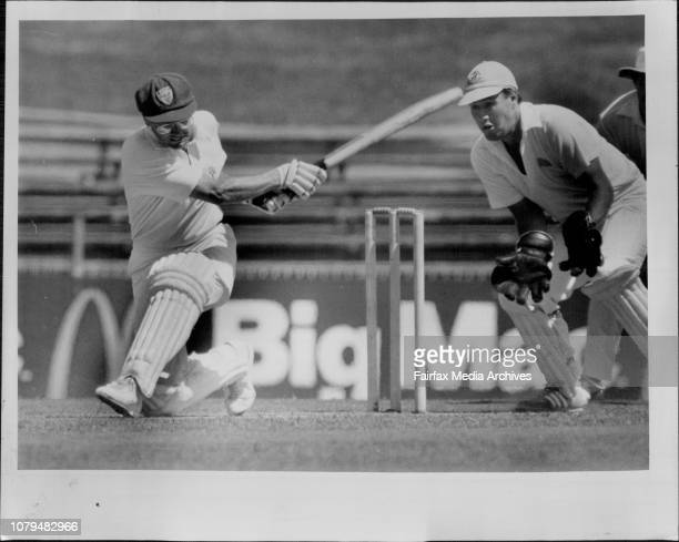 Sheffield Shield Cricket at SCG NSW Vs WANSW captain Dirk Wellham sweeps at the SCG yesterday as wicketkeeper Michael Cox looks ***** December 12 1986