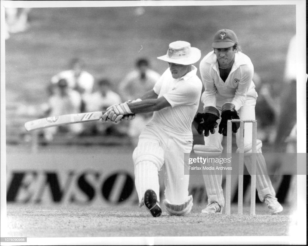 Sheffield Shield Cricket Match at S.C.G. N.S.W vs S.A.Greg Mathews didn't quite make it with this sweep. : News Photo