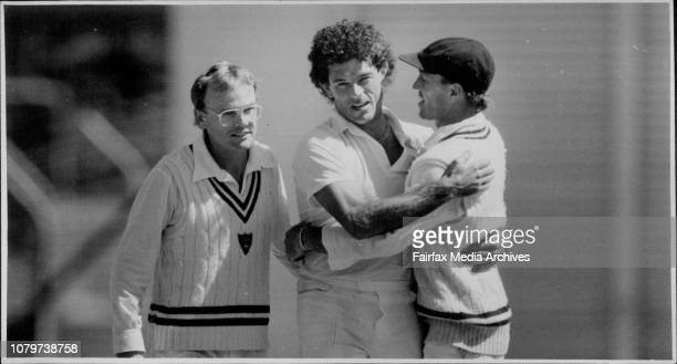 Sheffield Shield Cricket Match NSW vs South AustraliaMichael Whitney is congratulated by team mates Dirk Wellham and Greg Matthews after dismissing D...