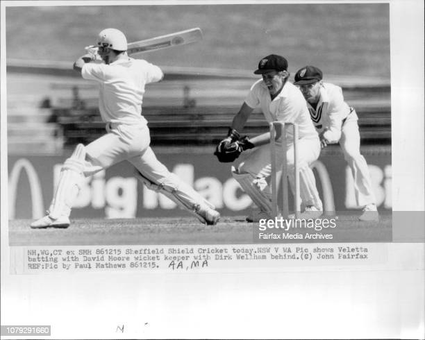 Sheffield Shield Cricket today NSW V WAVeletta batting with David Moore wicket keeper with Dirk Wellham behind December 15 1986