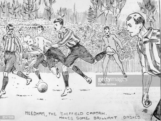 Sheffield United beat Derby County 41 in the Final Cup Tie at Crystal Palace London Sheffield captain Ernest Needham makes some brilliant dashes