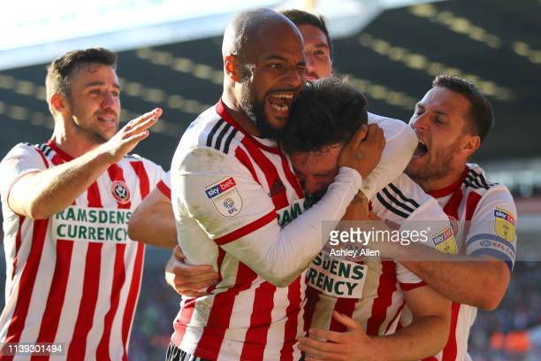 Sheffield United celebrate during the Sky Bet Championship match between Sheffield United and Bristol City at Bramall Lane on March 30, 2019 in...