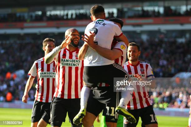 Sheffield United celebrate scoring their second goal during the Sky Bet Championship match between Sheffield United and Bristol City at Bramall Lane...