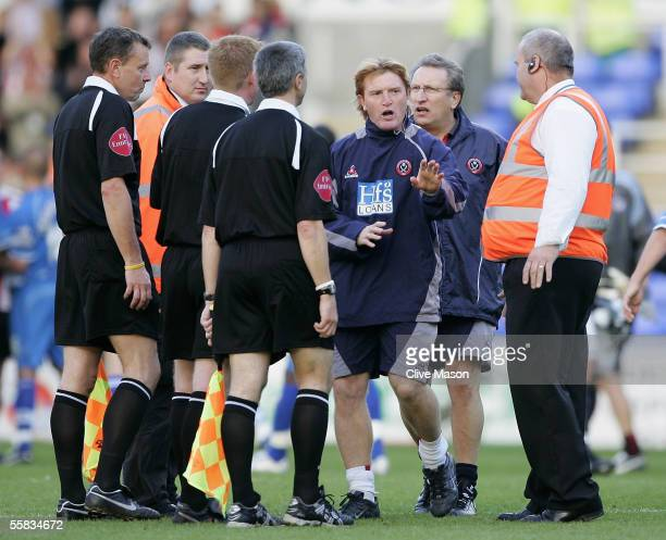 Sheffield United coaching staff confront the officials after the Coca Cola Championship match between Reading and Sheffield United on October 1 2005...