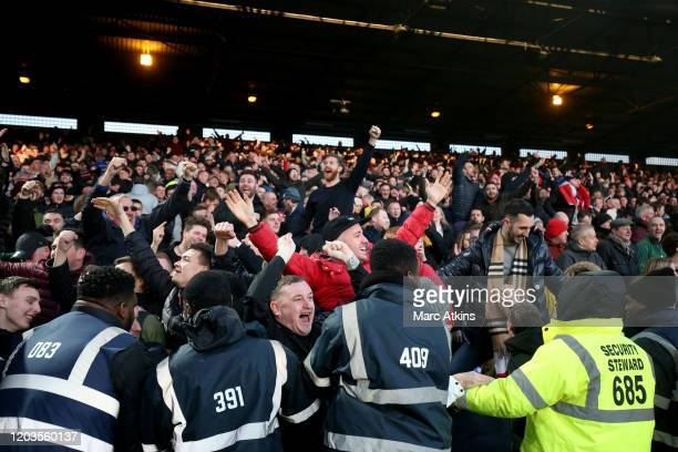 Sheffield United fans celebrate during the Premier League match between Crystal Palace and Sheffield United at Selhurst Park on February 01, 2020 in...