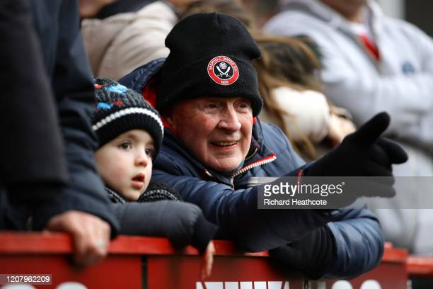 Sheffield United fans enjoying the pre match atmosphere prior to the Premier League match between Sheffield United and Brighton & Hove Albion at...