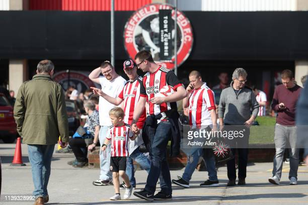 Sheffield United fans make their way to the stands during the Sky Bet Championship match between Sheffield United and Bristol City at Bramall Lane on...