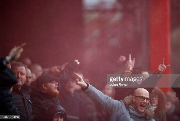 Sheffield United fans show their support during the Sky Bet Championship match between Brentford and Sheffield United at Griffin Park on March 30...