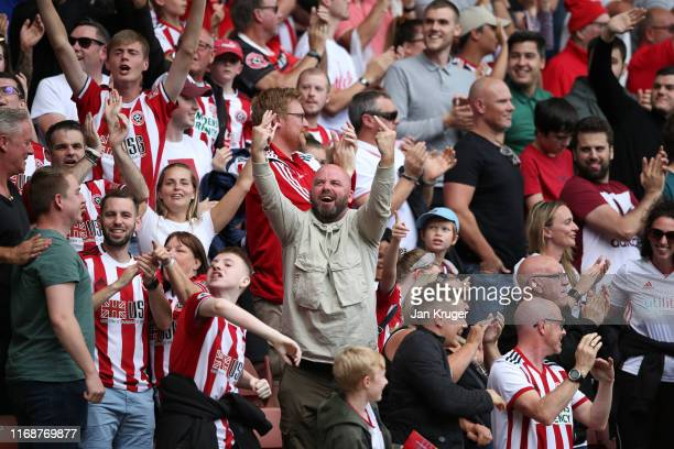 Sheffield United fans show their support following victory in the Premier League match between Sheffield United and Crystal Palace at Bramall Lane on...