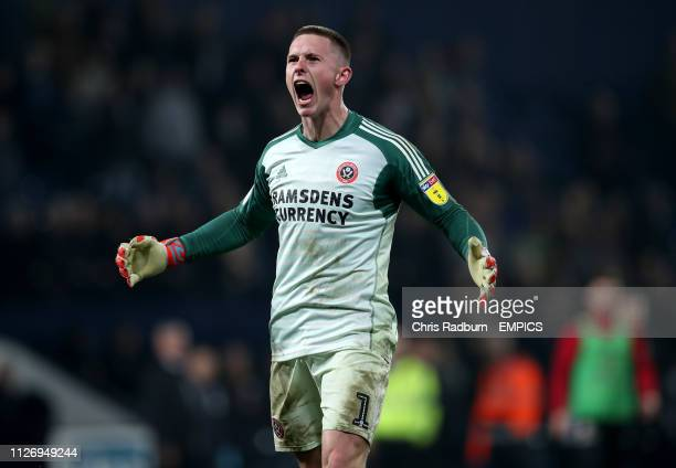 Sheffield United Goal Keeper Dean Henderson celebrates after the final whistle of the Sky Bet Championship match at The Hawthorns West Bromwich...