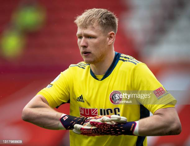 Sheffield United goalkeeper Aaron Ramsdale during the Premier League match between Sheffield United and Crystal Palace at Bramall Lane on May 8, 2021...