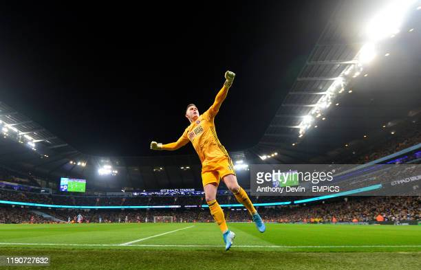 Sheffield United goalkeeper Dean Henderson celebrates a goal scored by teammate Lys Mousset which later ruled out by VAR for offside Manchester City...