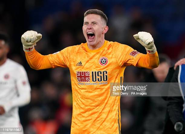 Sheffield United goalkeeper Dean Henderson celebrates after the final whistle during the Premier League match at Selhurst Park London
