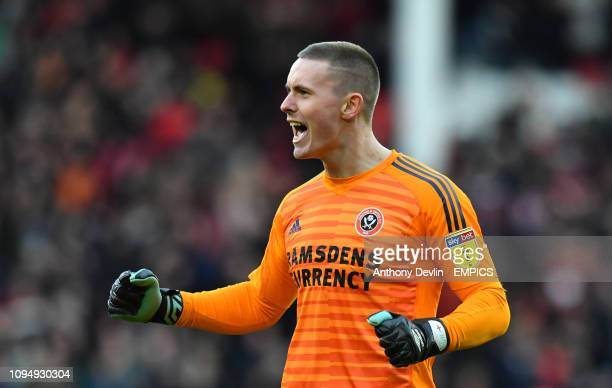 Sheffield United goalkeeper Dean Henderson celebrates as David McGoldrick scores his side's first goal of the game Sheffield United v Bolton...