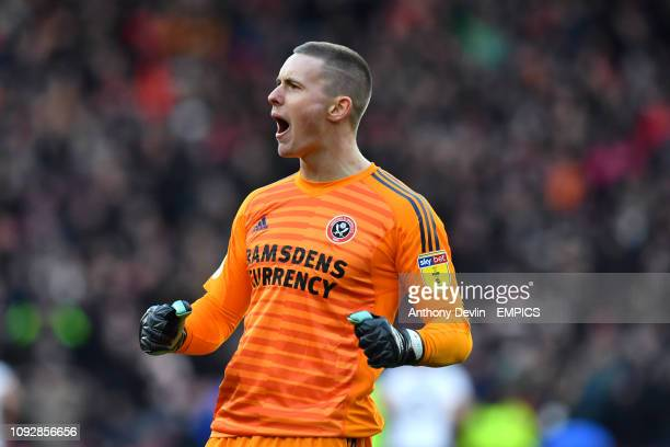 Sheffield United goalkeeper Dean Henderson celebrates as Sheffield United's David McGoldrick scores his side's first goal of the game Sheffield...