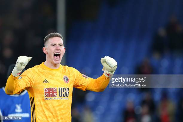 Sheffield United goalkeeper Dean Henderson celebrates their victory during the Premier League match between Crystal Palace and Sheffield United at...