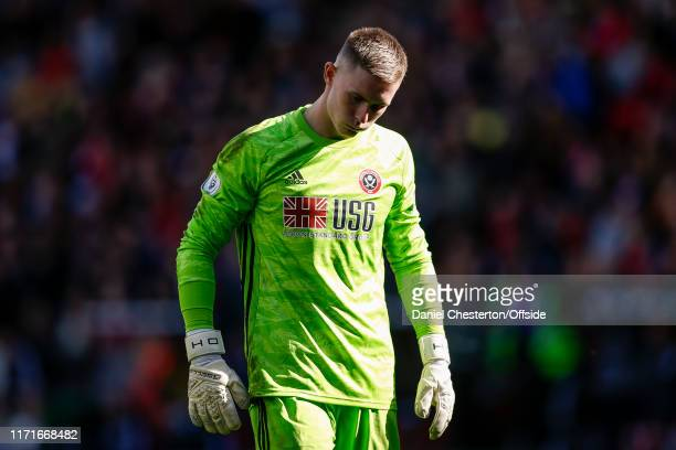 Sheffield United goalkeeper Dean Henderson looks dejected during the Premier League match between Sheffield United and Liverpool FC at Bramall Lane...