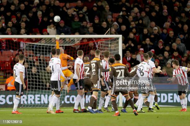 Sheffield United goalkeeper Dean Henderson saves a free kick from Brentford's Said Benrahma Sheffield United v Brentford Sky Bet Championship Bramall...
