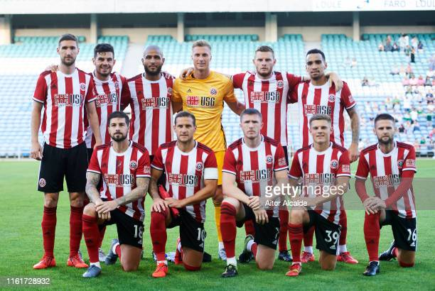 Sheffield United line up for a team photo prior to the a preseason friendly match between Real Betis Balompie and Sheffield United FC at Estadio...