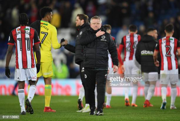 Sheffield United manager Chris Wilder acknowledges the fans after the The Emirates FA Cup Fifth Round between Leicester City and Sheffield United at...