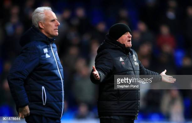 Sheffield United Manager Chris Wilder and Ipswich Town Manager Mick McCarthy look on during the Emirates FA Cup third round match between Ipswich...