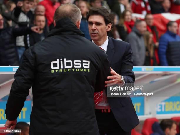 NOTTINGHAM ENGLAND NOVEMBER Sheffield United Manager Chris Wilder and Nottingham Forest Manager Aitor Karanka during the Sky Bet Championship match...