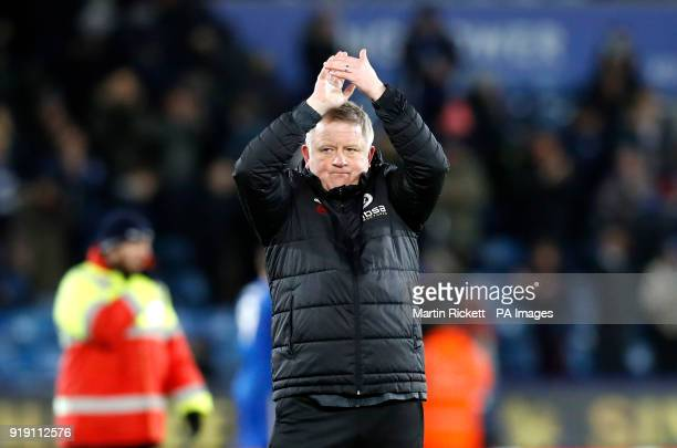 Sheffield United manager Chris Wilder applauds the fans after the Emirates FA Cup Fifth Round match at the King Power Stadium Leicester