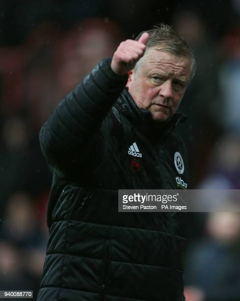 Sheffield United manager Chris Wilder at half time during the Sky Bet Championship match at Griffin Park London