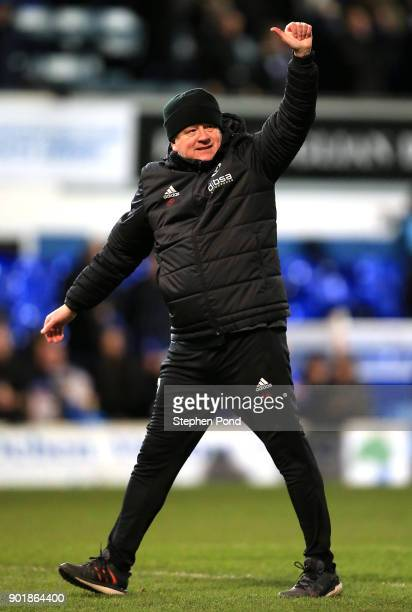 Sheffield United Manager Chris Wilder celebrates victory after the Emirates FA Cup third round match between Ipswich Town and Sheffield United at...