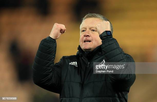 Sheffield United Manager Chris Wilder celebrates victory during the Sky Bet Championship match between Norwich City and Sheffield United at Carrow...