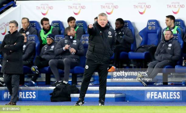 Sheffield United manager Chris Wilder during the Emirates FA Cup Fifth Round match at the King Power Stadium Leicester