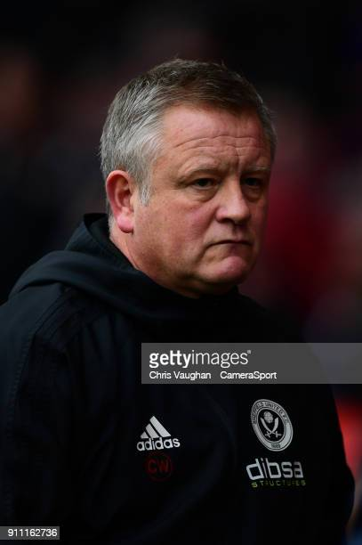 Sheffield United manager Chris Wilder during the prematch warmup prior to the The Emirates FA Cup Fourth Round match between Sheffield United and...