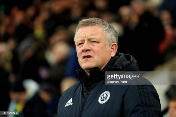 Sheffield United Manager Chris Wilder during the Sky Bet Championship match between Norwich City and Sheffield United at Carrow Road on January 20...