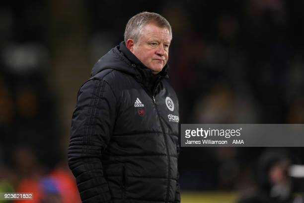 Sheffield United manager Chris Wilder during the Sky Bet Championship match between Hull City and Sheffield United at KCOM Stadium on February 23...