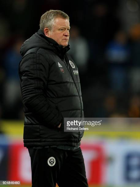 Sheffield United manager Chris Wilder during the Sky Bet Championship match between Hull City and Sheffield United at KCOM on February 23 2018 in...