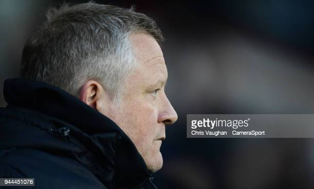 Sheffield United manager Chris Wilder during the Sky Bet Championship match between Sheffield United and Middlesbrough at Bramall Lane on April 10...