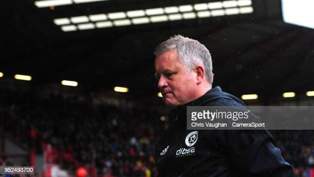Sheffield United manager Chris Wilder during the Sky Bet Championship match between Sheffield United and Preston North End at Bramall Lane on April...