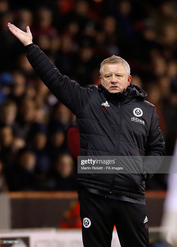 Sheffield United manager Chris Wilder gestures on the touchline during the Sky Bet Championship match at Bramall Lane, Sheffield.