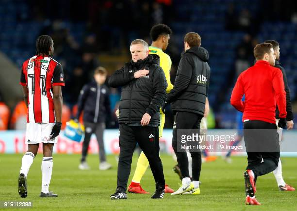 Sheffield United manager Chris Wilder gestures to the fans after the Emirates FA Cup Fifth Round match at the King Power Stadium Leicester