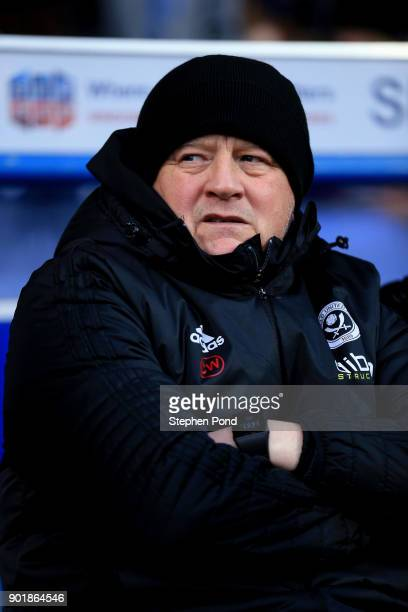 Sheffield United Manager Chris Wilder looks on during the Emirates FA Cup third round match between Ipswich Town and Sheffield United at Portman Road...
