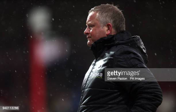 Sheffield United manager Chris Wilder looks on during the Sky Bet Championship match at Griffin Park London