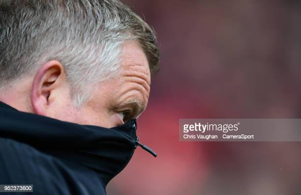 Sheffield United manager Chris Wilder pulls his coat up over his face prior to the Sky Bet Championship match between Sheffield United and Preston...