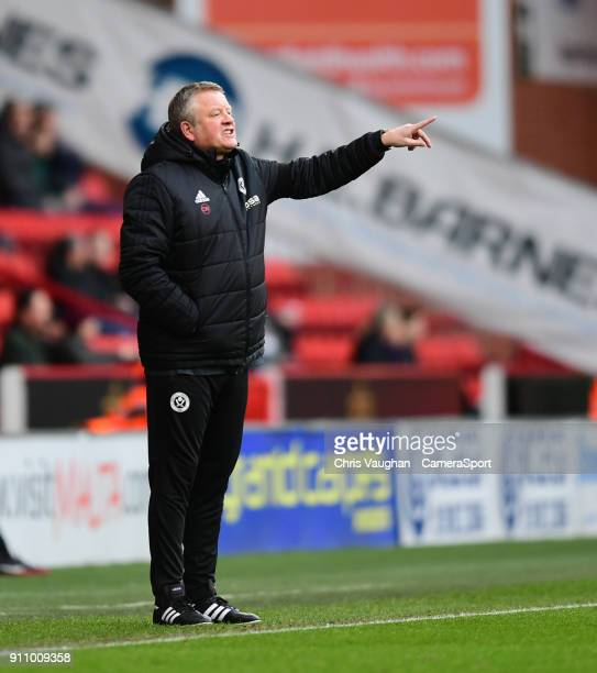 Sheffield United manager Chris Wilder shouts instructions to his team from the technical area during the The Emirates FA Cup Fourth Round match...