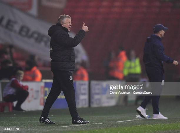 Sheffield United manager Chris Wilder shouts instructions to his team from the technical area during the Sky Bet Championship match between Sheffield...