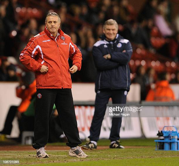 Sheffield United manager Micky adams looks on during the npower Championship match between Sheffield United and Leicester City at Bramell Lane on...