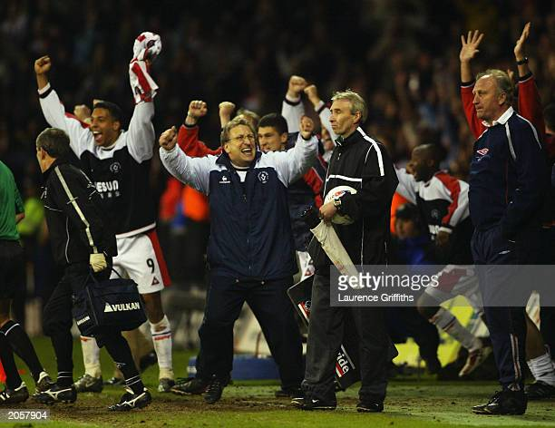 Sheffield United manager Neil Warnock leads the celebrations at the final whistle during the Nationwide League Division One playoff semifinal second...