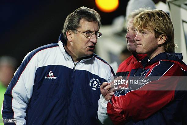 Sheffield United manager of Neil Warnock talks with Stuart McCall of Sheffield United during the Nationwide League Division One match between...